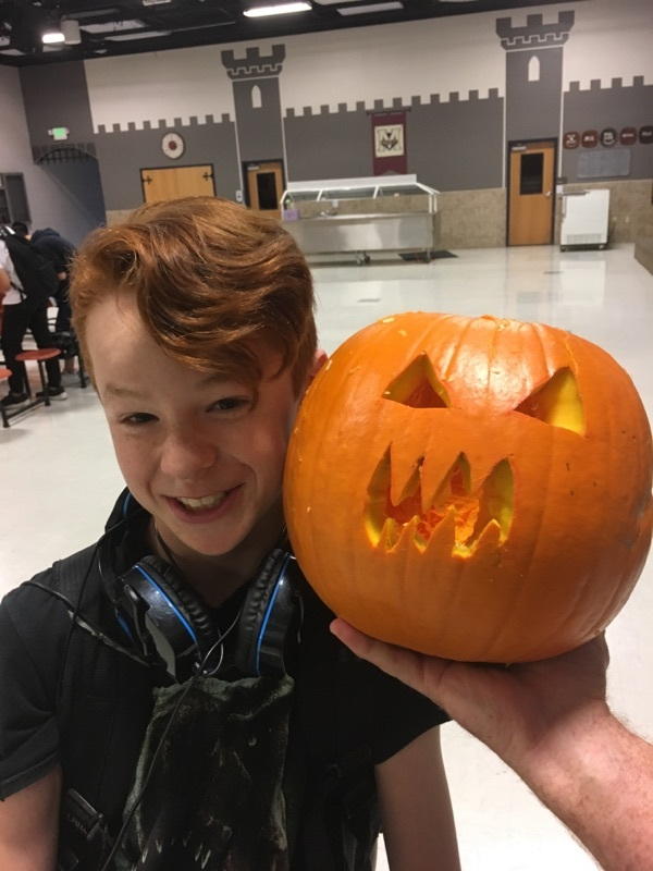 Luke with his scary pumpkin!