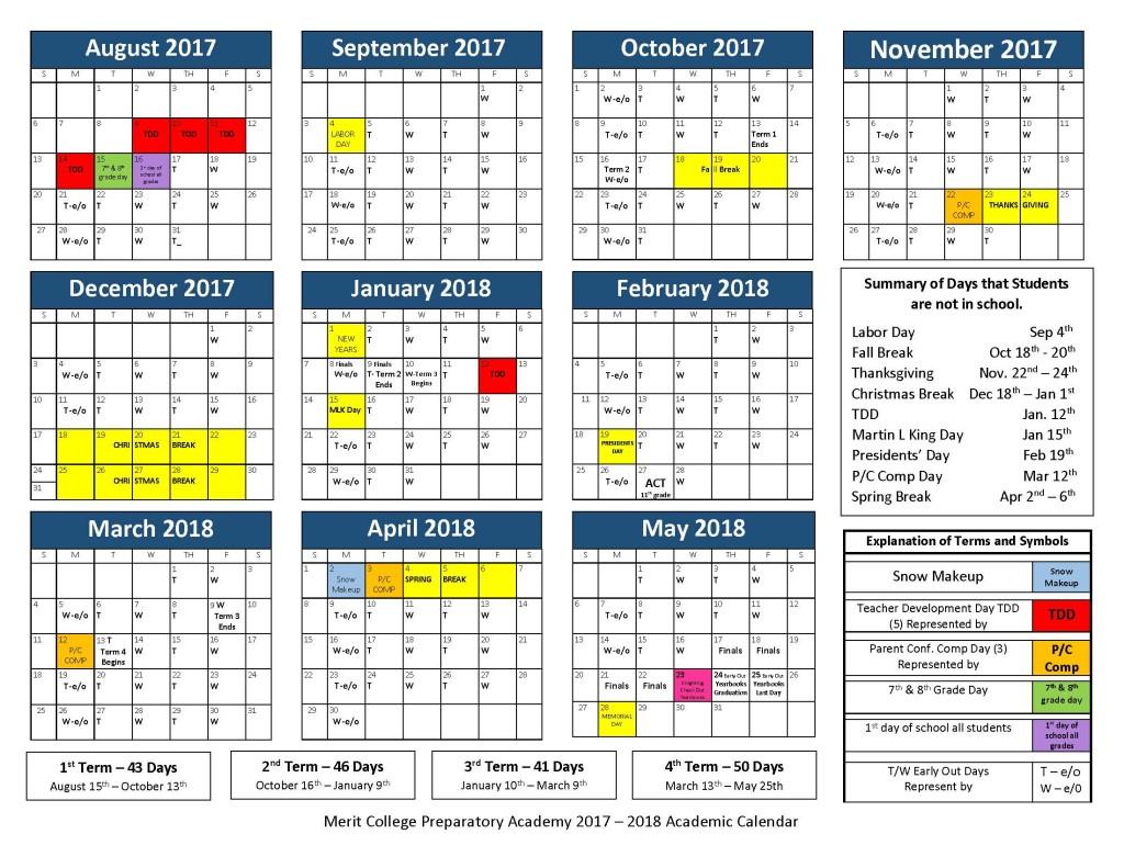 Merit Academy Academic Calendar 2017-18