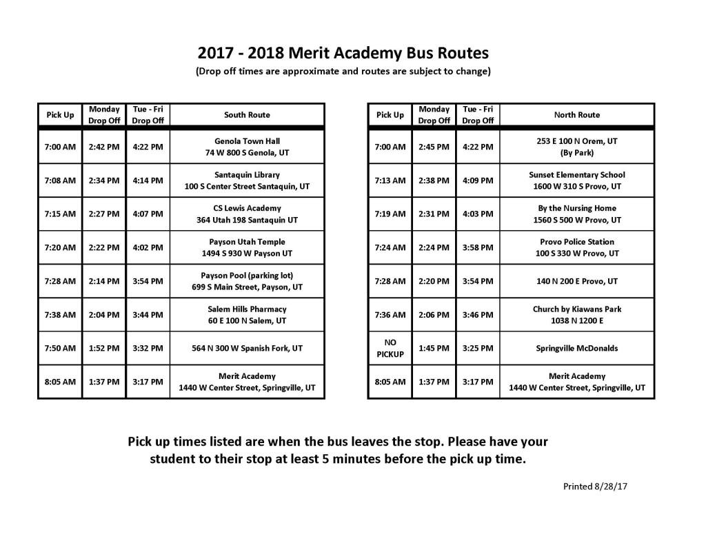 Merit Academy Bus Routes 2017-18